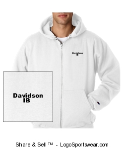 White unisex adult thick zip sweatshirt front and back Design Zoom