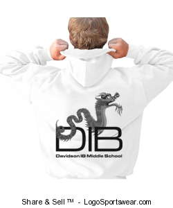 Adult unisex full zip sweatshirt white back only Design Zoom