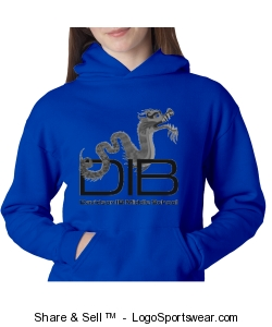 unisex youth pullover sweatshirt in Royal Design Zoom